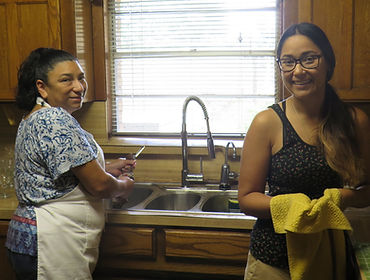 Celina and Hilda in kitchen.JPG