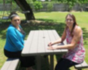 Celina and Julie enjoy the sunshine.JPG