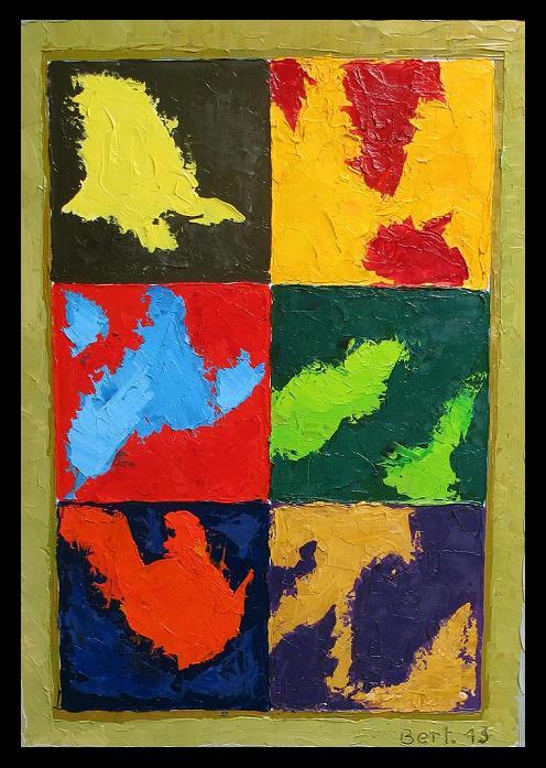 les 6 couleurs-2013 huile sur bois 50x65