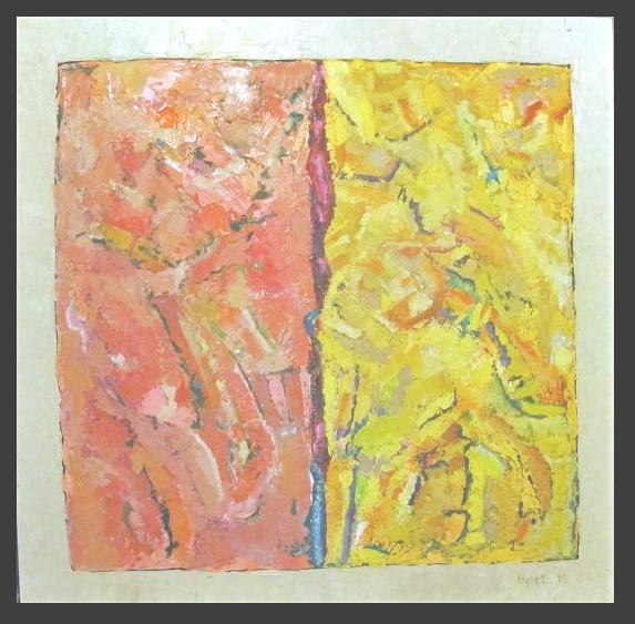 rose et jaune-2013 huile sur bois 75x75c