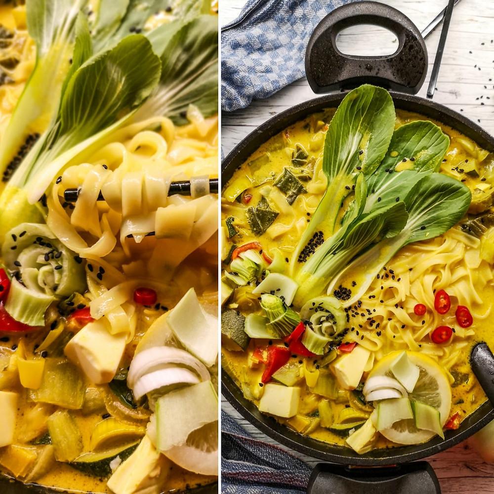 Asiatische Reisnudel-Suppe mit Gemüse, Seidentofu und Pak Choi
