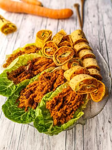Nährstoffreiche Bohnencreme mit Karotten für Mini-Wraps