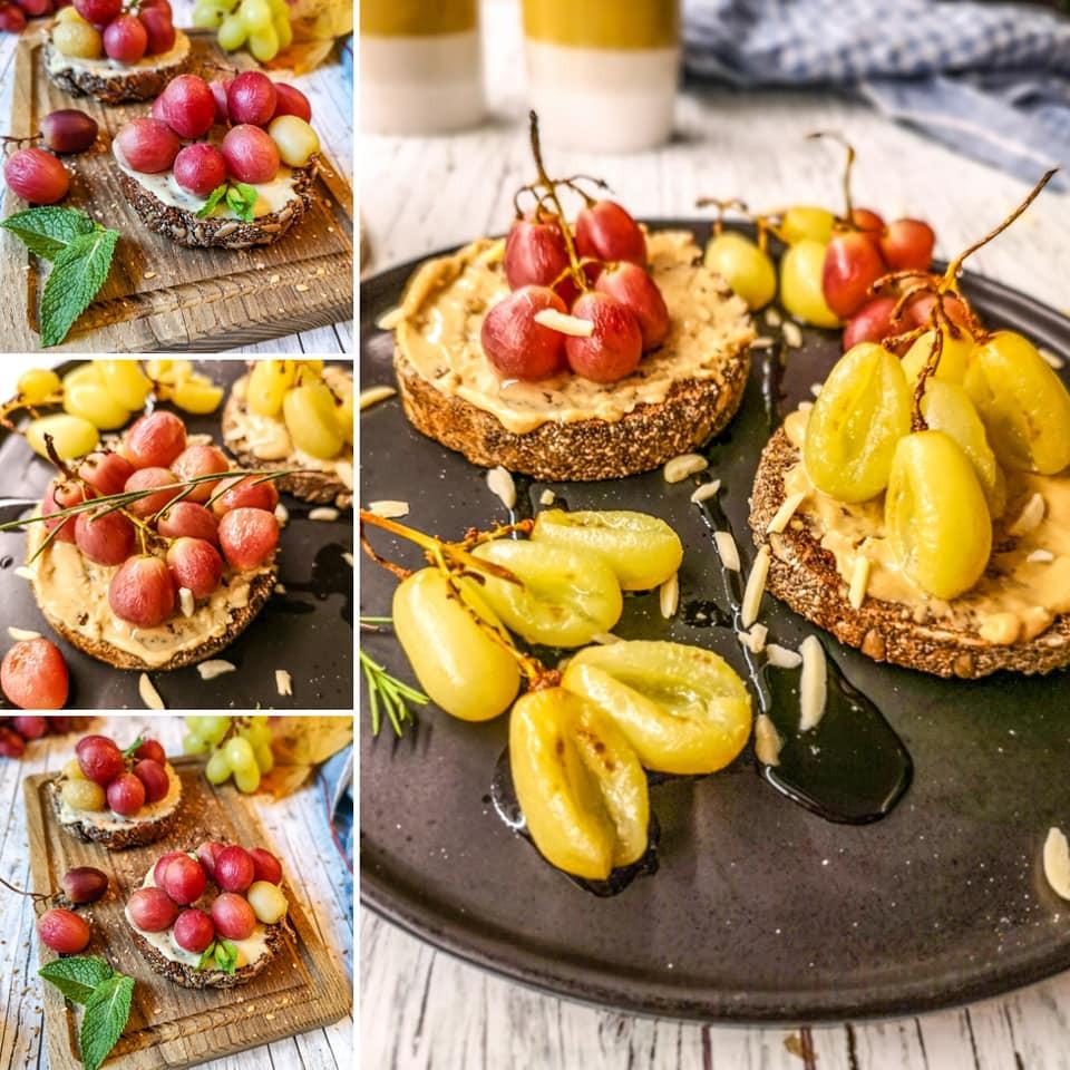 Ofen-Weintrauben auf knusprigem Chia-Vollkornbrot und purem Erdnussmus