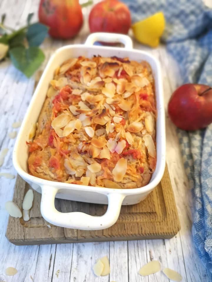 Einfacher Apfel-Rührkuchen ohne Ei und Zucker