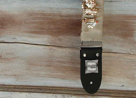 Sparkle Rose Gold and Light Pink Mermaid Flip Fabric Guitar Strap