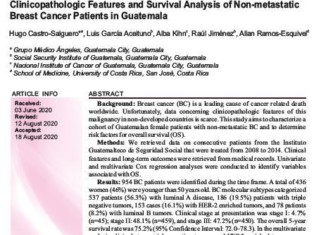Clinicopathologic features and survival analysis of non-metastatic breast cancer patients in Guatema