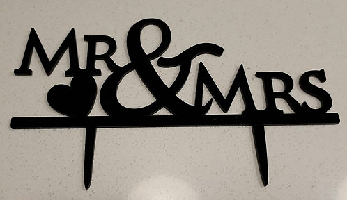 """Mr & Mrs"" Acrylic Cake Topper"