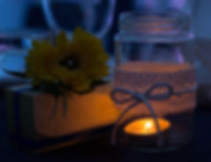 Candle, jar, lace, flower, yellow