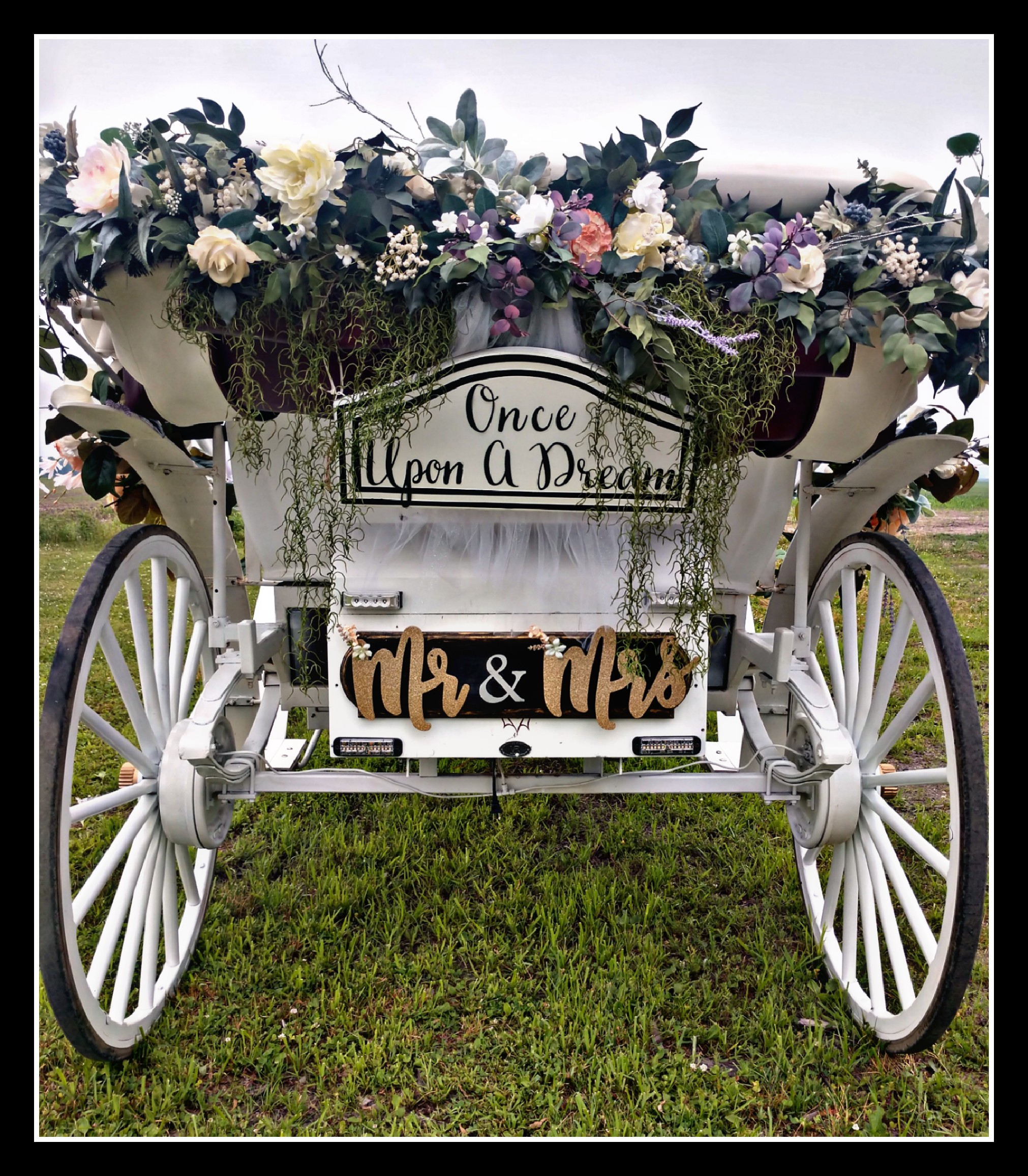 "Floral & ""Mr & Mrs"" carriage sign package"
