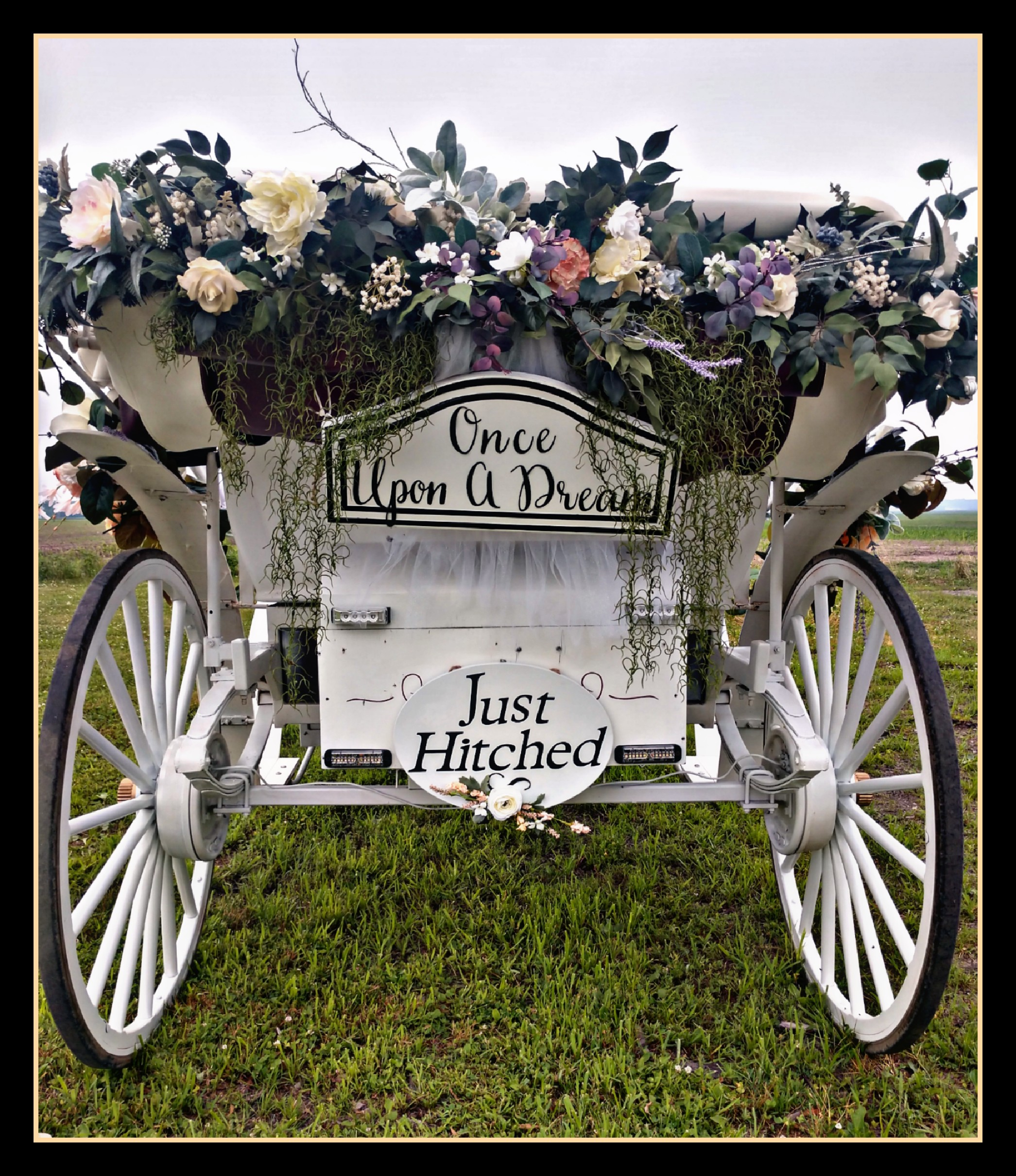 "Florals & "" Just Hitched"" carriage sign package"