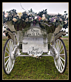"""Florals & """" Just Hitched"""" carriage sign package"""
