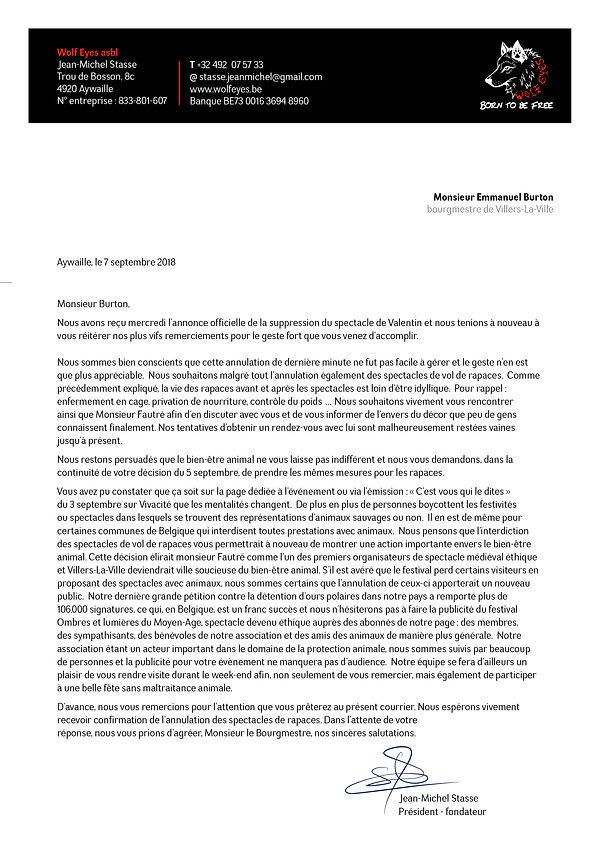 Lettre Bourgmestre-Burton-Spectace-rapac