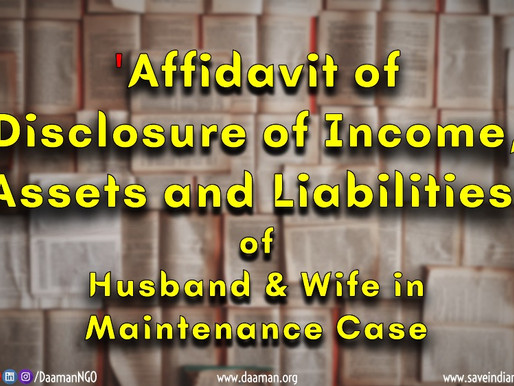 All about 'Affidavit of Disclosure of Income, Assets and Liabilities' of parties in Maintenance Case