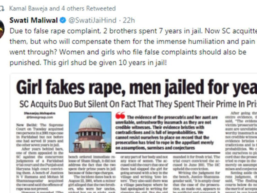 """""""Women and girls who file false complaints should also be punished"""", says Swati Maliwal"""