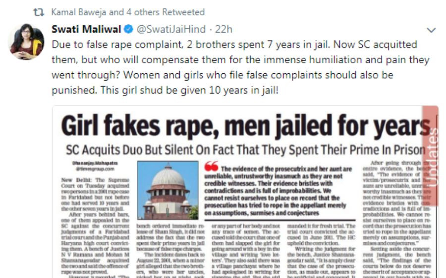 """Women and girls who file false complaints should also be punished"", says Swati Maliwal"