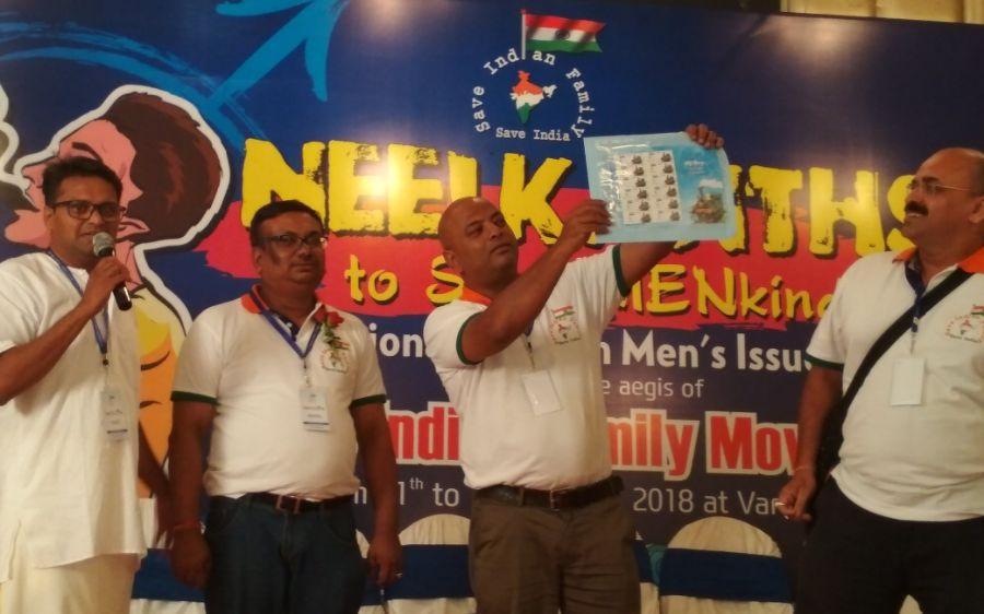 Wasif Ali and Anupam Dubey releasing first ever Postal Stamp on Men's Rights Organization in India