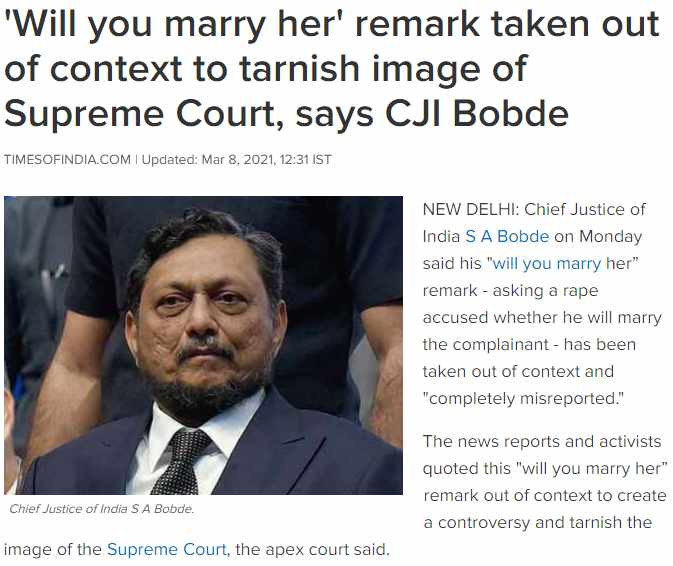 'Will you marry her' remark taken out of context to tarnish image of Supreme Court, says CJI Bobde