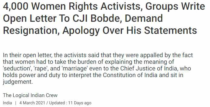 4,000 Women Rights Activists, Groups Write Open Letter To CJI Bobde, Demand Resignation, Apology Over His Statements
