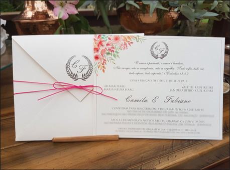 Convite de casamento clássico - Flores