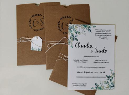 Convite de casamento rústico - Folhas