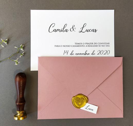 Convite de casamento clássico - Old Rose