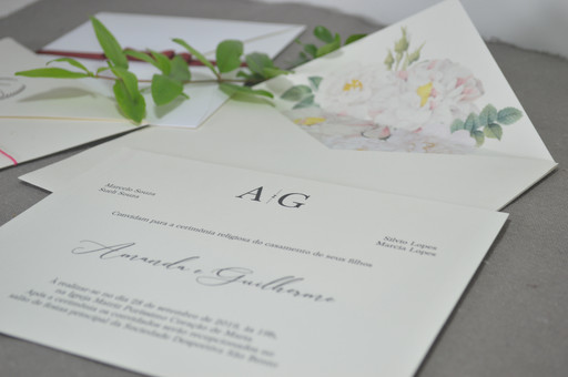 Convite de casamento clássico - Flores brancas