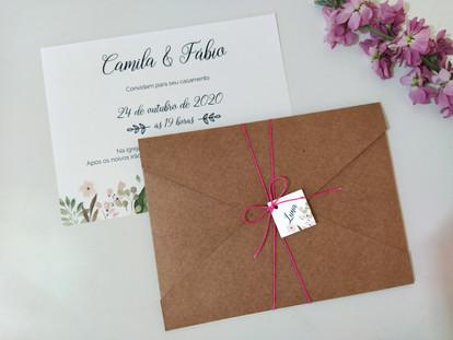 Convite de casamento rústico - Flores