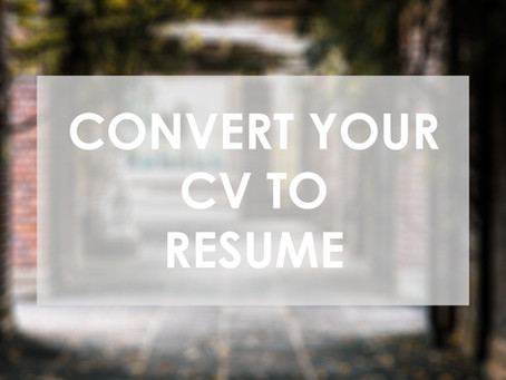 Convert Your CV to Resume