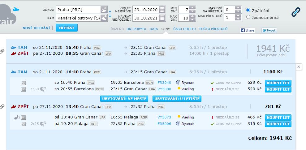 Výsledky vyhledávání na azair.com