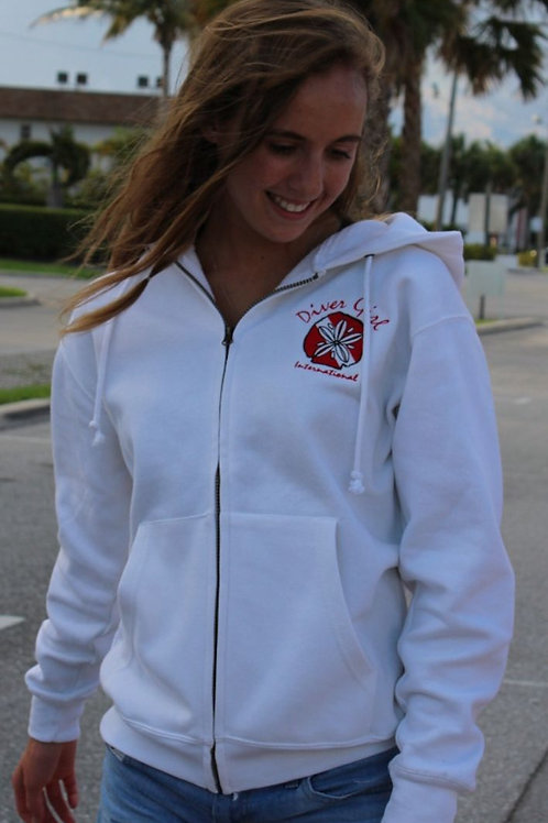 White Diver Girl Int. Pull over Hoodie