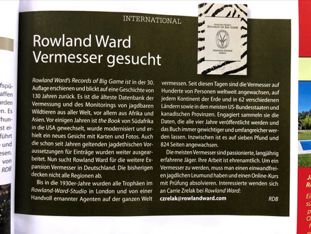 Rowland Ward in the news Jagen Weltweit