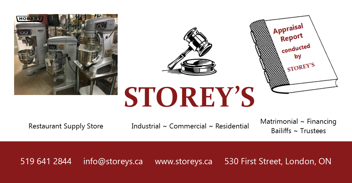 Storey\'s Auctions Restaurant & Food Equipment Appraisers London ON