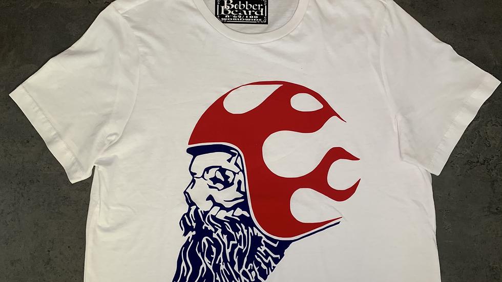 T-shirt Homme Blanc, Rouge & Bleu BOBBERBEARD