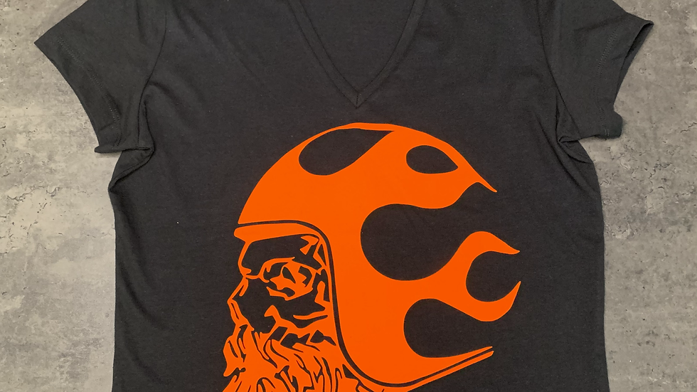 T-shirt Noir & Orange BOBBERBEARD Femme
