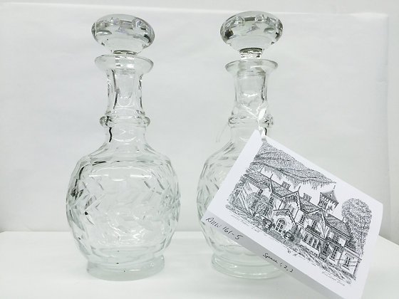 Pair Of Blown Cut Crystal Decanters