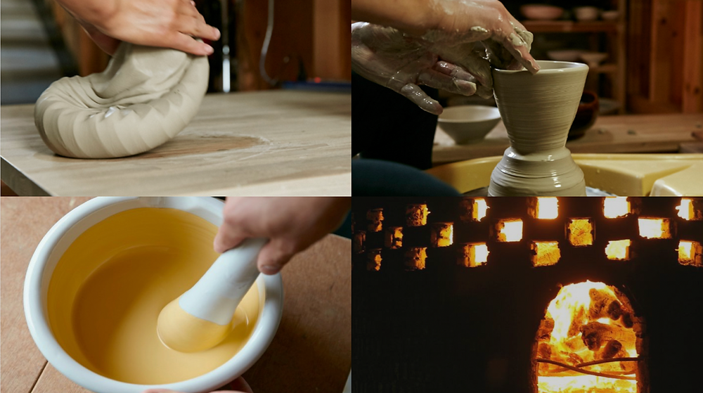 4 steps to create a handmade ceramic object, from mix the clay to fire.