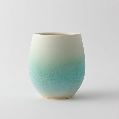 Unique handmade coffee / tea cup, Ice green | Ryuji IWASAKI