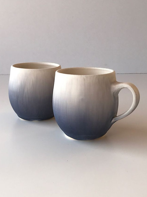 Unique handmade coffee / tea cup, purple with handle   Ryuji IWASAKI