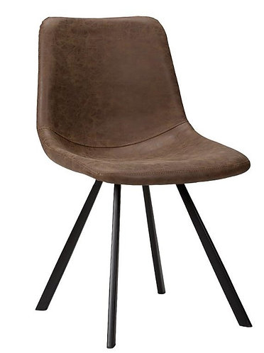 Brown Faux Leather Side Chair