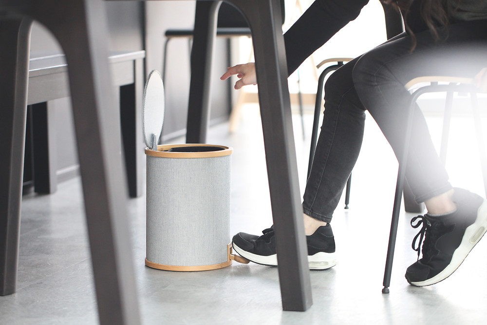 Gudee Blog-Pomp bamboo trash bin home office-Warm Neutral Pedal Bin for Home and Office