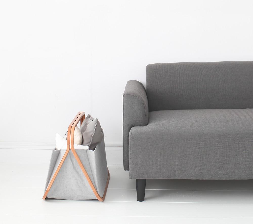 Gudee Blog-Gatsby storage basket beside sofa-Basket for Cozy Winter Decor
