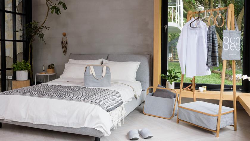 Storage Rack for Neutral Bedroom