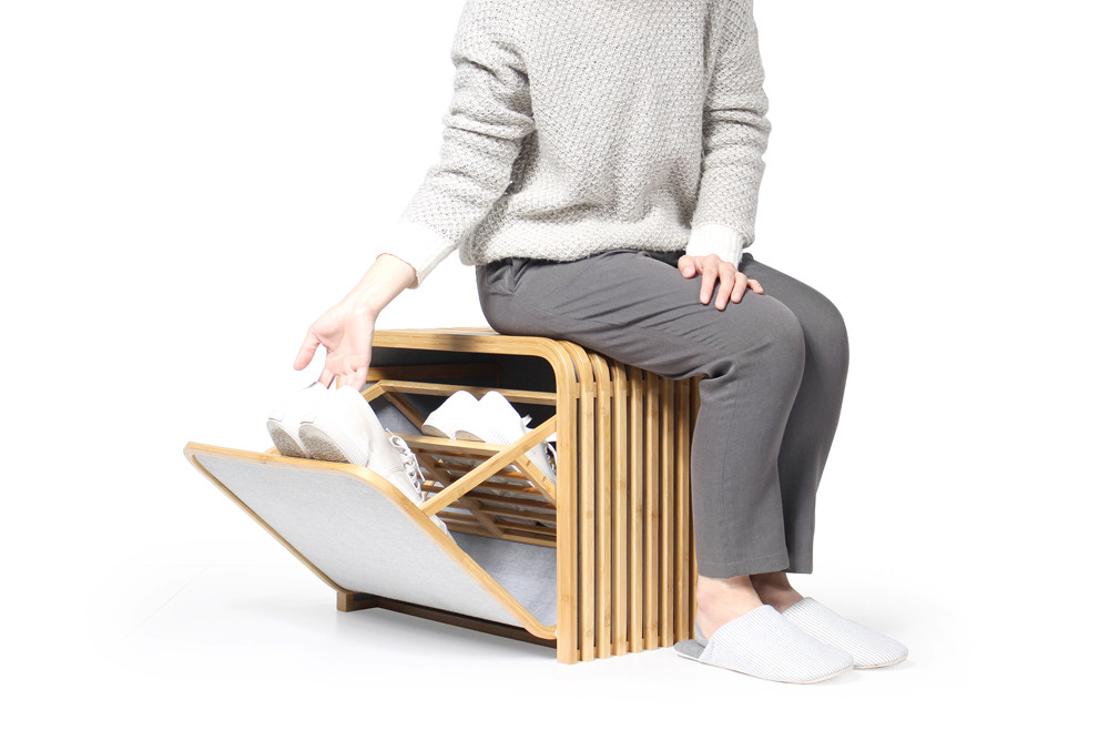 Gudee Tolin storage shoes bench bamboo open
