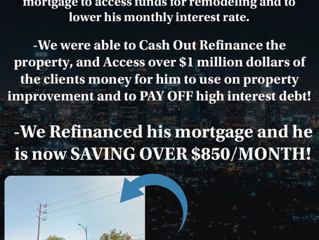 WAREHOUSE/COMMERCIAL CASH OUT REFINANCE