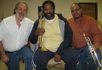 "The Ellington Band trumpet section visits the shop - and we design the new, custom Monette ""sla"