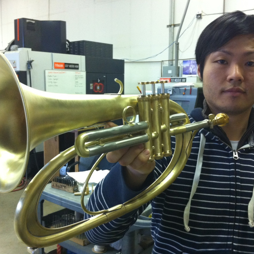 John Kim with finished flugelhorn