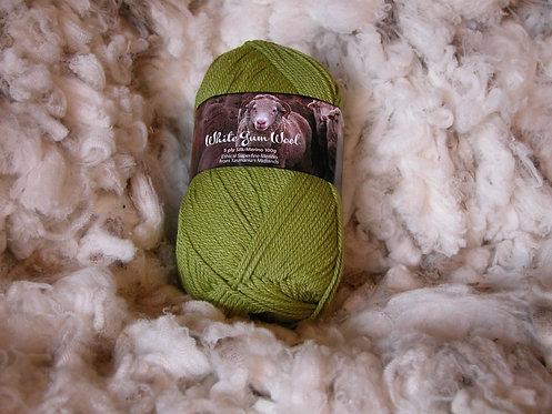 green silk merino 5 ply white gum wool
