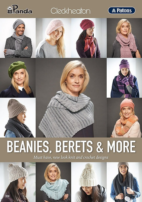Cleckheaton Patons Beanies Berets and More 359 Pattern Book