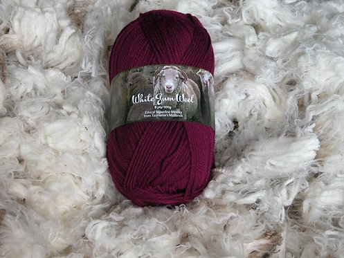 flax lily red 8 ply merino white gum wool