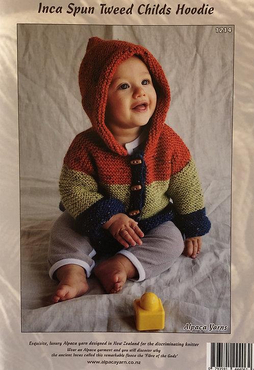 Inca Spun Tweed Childs Hoodie - Alpaca Yarns 1214